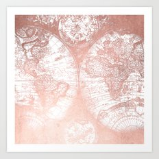 Rose Gold Pink Antique World Map by Nature Magick Art Print