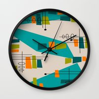 mid century modern Wall Clocks featuring Mid-Century Modern Abstract by Kippygirl
