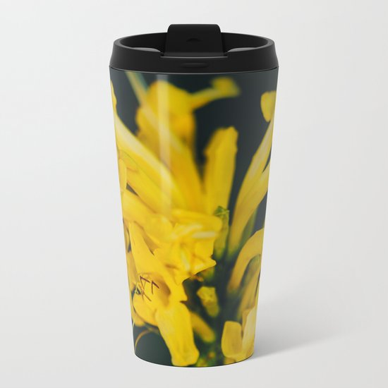 Beautiful yellow flower on black background Metal Travel Mug