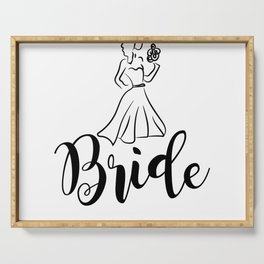 bride dress with flower wedding  Serving Tray