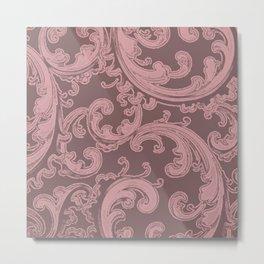 Retro Chic Swirl Bridal Rose Metal Print
