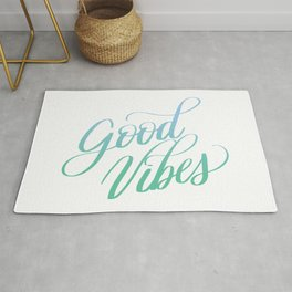 Good Vibes Positive Motivation Quote Calligraphy Designs Rug