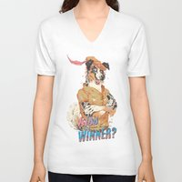 robin hood V-neck T-shirts featuring Australian Shepard as Robin Hood by Camille Dion-Bolduc