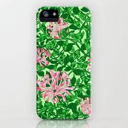 William Morris Honeysuckle, Pink and Emerald Green iPhone Case