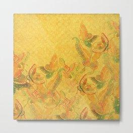 Summer Butterflies - deep golden yellow watercolor butterflies Metal Print