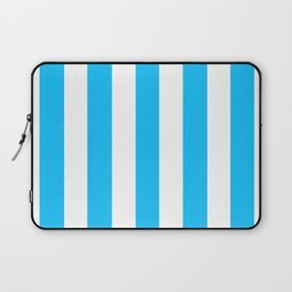 Spiro Disco Ball blue - solid color - white vertical lines pattern Laptop Sleeve