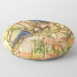 Lullaby (Black Throated Warblers) Floor Pillow
