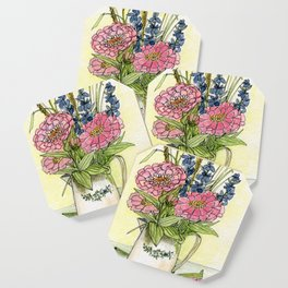 Pink Zinnias in Pitcher Watercolor Coaster