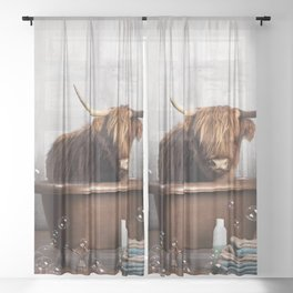 Highland Cow in the Tub Sheer Curtain