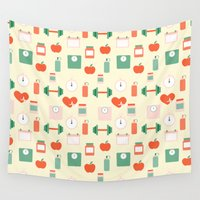 fitness Wall Tapestries featuring Fitness pattern by Xinnie and RAE