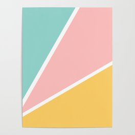 Tropical summer pastel pink turquoise yellow color block geometric pattern Poster