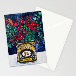 Wild Flowers in Golden Syrup Tin on Blue Stationery Cards
