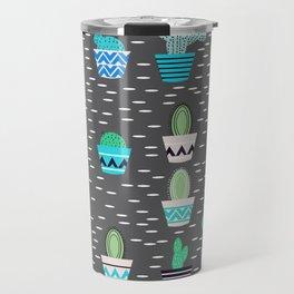 Potted cacti on a gray background Travel Mug
