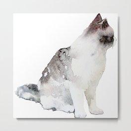 Watercolor Cat Paintng Metal Print