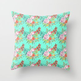 Country chic pink red aqua watercolor floral Throw Pillow