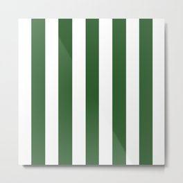 Mughal green - solid color - white vertical lines pattern Metal Print
