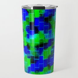 BRICK WALL SMUDGED (Blues & Greens) Travel Mug