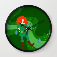 merida Wall Clocks featuring Merida by Eva Duplan Illustrations