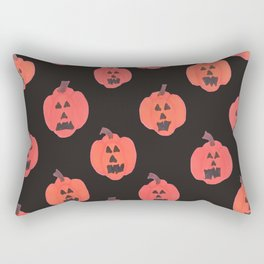 Halloween Jack-o-Lanterns on Black Rectangular Pillow
