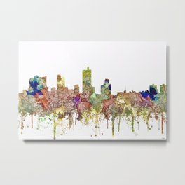 Fort Worth, Texas Skyline - Faded Glory Metal Print