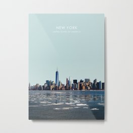 New York Skyline, USA Travel Artwork Metal Print