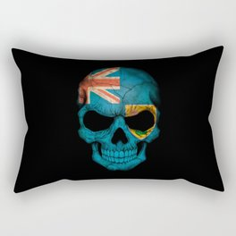 Dark Skull with Flag of Turks and Caicos Rectangular Pillow