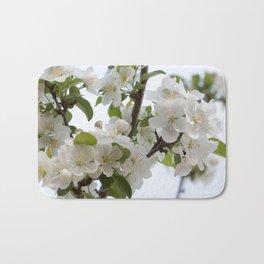 White Blossoms Bath Mat