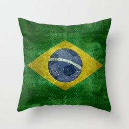 Flag of Brazil with football (soccer ball) retro style Throw Pillow