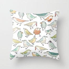 birds outside my window Throw Pillow