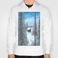 cabin Hoodies featuring Winter Cabin by Connie Campbell
