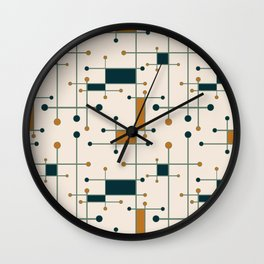 Intersecting Lines in Cream, Blue-Green and Orange Wall Clock