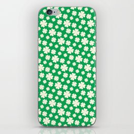 Off-White Four Leaf Clover Pattern with Green Background iPhone Skin