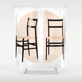 Superleggera Mid-Century chair Shower Curtain