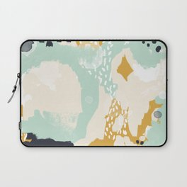 Tinsley - abstract painting minimalist decor nursery dorm college art gold navy Laptop Sleeve