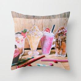 Milkshakes for 4 Throw Pillow