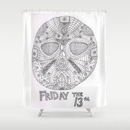 Hockey Mask Doodle Shower Curtain