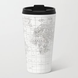World Map ~ White on White Metal Travel Mug