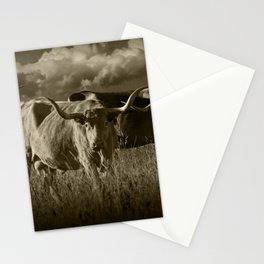Sepia Tone of Texas Longhorn Steers under a Cloudy Sky Stationery Cards