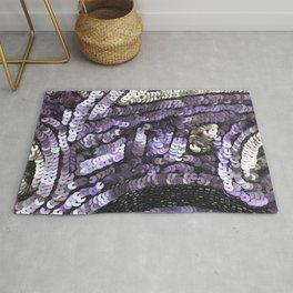 Lavender Silver Black Sequin Rug