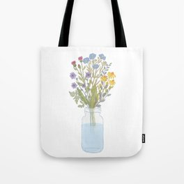 Wild flowers and herbs bouquet in the jar illustration Tote Bag