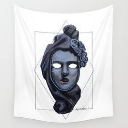 Female Venetian Mask | Watercolor and Colored Pencil  Wall Tapestry