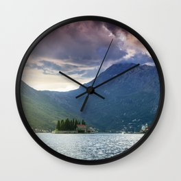 Sunset over Bay of Kotor Wall Clock