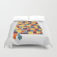 alabama Duvet Covers featuring Alabama colour region map by MCartography