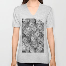 PARROTS MAGNOLIAS ROSES AND HYDRANGEAS TOILE PATTERN IN GRAY AND WHITE Unisex V-Neck
