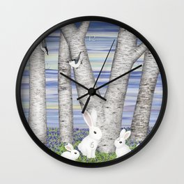 nuthatches, bunnies, and birches Wall Clock
