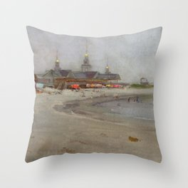 Narragansett Beach, Narragansett, Rhode Island Landscape by Hugo August Bernhard Breul Throw Pillow