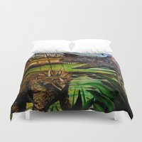 dinosaurs Duvet Covers featuring DINOSAURS by shannon's art space