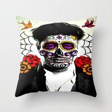 Musician Sugar Skull Painting Throw Pillow