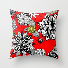 Pattern in Red  Throw Pillow