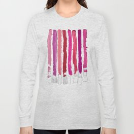 Lipstick Stripes - Floral Fuschia Red Long Sleeve T-shirt